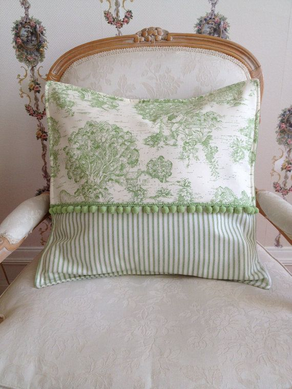 French Country Pillow Cover, Green Pillow, Toile Pillow, Ticking Stripe…