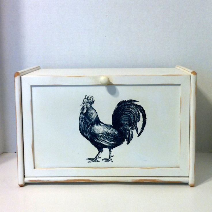 $68 Vintage Bread Box Wood Bread Box White Wooden Bread Box Rooster Bread Box Kitchen Storage Retro Shabby Chic Rooster Farmhouse Bread Box by LastTangoVintage on Etsy