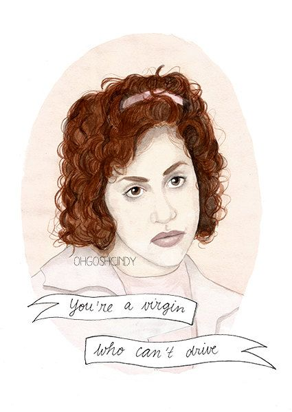 Tai from Clueless watercolour portrait PRINT Brittany Murphy ''You're a virgin who can't drive''