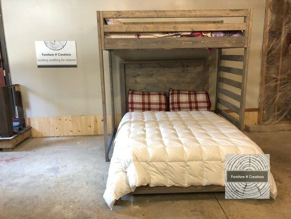 Twin Loft Bed Over Queen Bed Guest Room Shared Room Etsy Twin