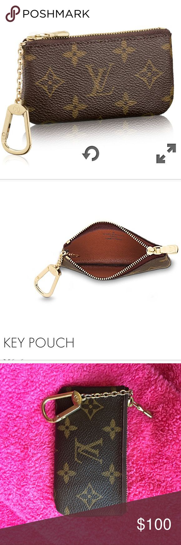 BEST OFFER Louis Vuitton Key Pouch coin purse Authentic Louis Vuitton Key Pouch! Perfect for holding your ID and cards or cash. The leather is in perfect condition, but the hardwear is showing some signs of wear. Purchased for $200. Louis Vuitton Bags Wallets