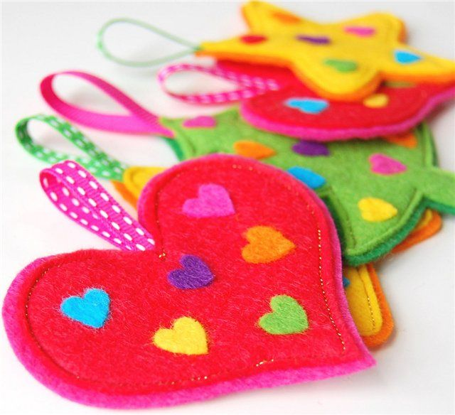 Felt Heart decorations for Valentine's Day or Christmas tree