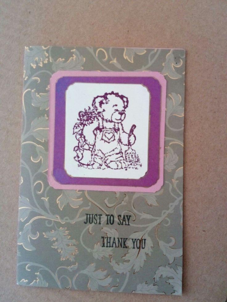 Teddy thanks cardmaking