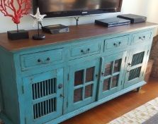 Fantastic large sideboard, painted with an aqua chalk paint then sealed with an antique wax