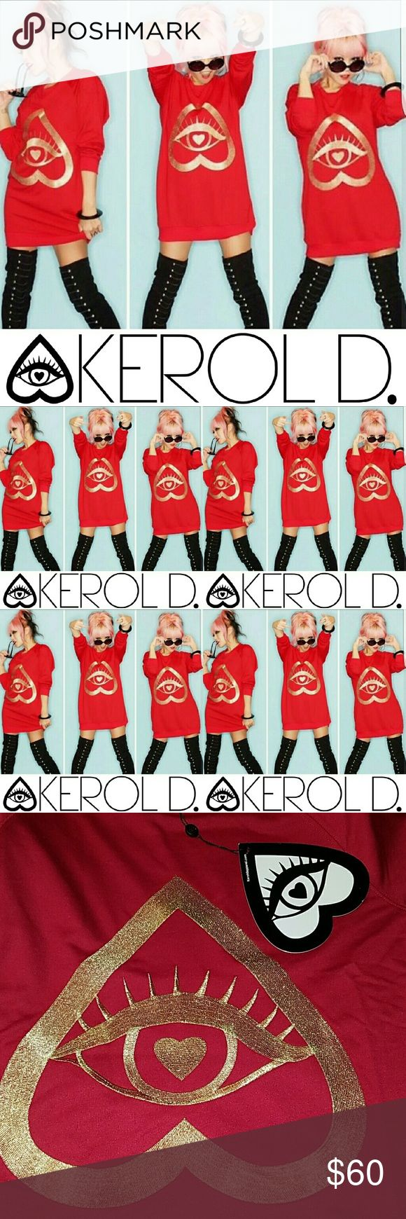 Nasty Gal Kerol D. Logo Long Jumper Sweater Boho Up for sale Nasty Gal by Kerol D. Alessa Eye Logo Long Red Jumper Sweater .  Size Small Nasty Gal by Karol D. Sweaters Crew & Scoop Necks