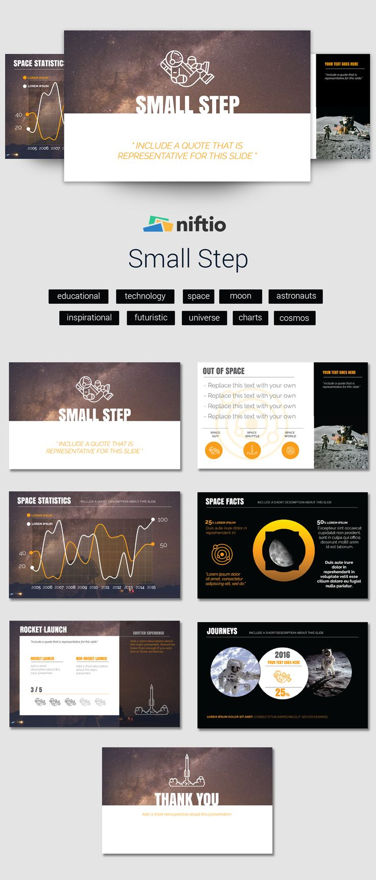 """""""That's one small step for a man, one giant leap for mankind.""""  #templatethursday #presentation#design #astronauts #charts #statistics #education #edutech #nasabeyond #astronomy #galaxy #andromeda #scienceread #cosmonaut #internationalspacestation #spacestation #station #outerspace #mars"""