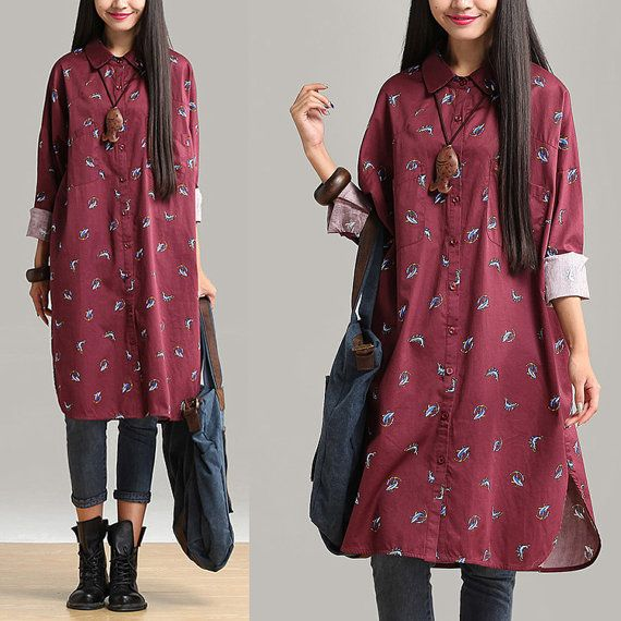 Loose Fitting Cotton Long Shirt Blouse for Women  -Red -Long Sleeved Women Clothing