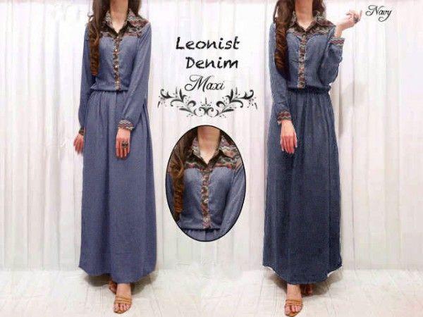 Baju muslim maxi dress denim leonist KL02