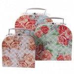 Lot de 3 Boîtes déco avec poignée - Design Fleurs Chintz
