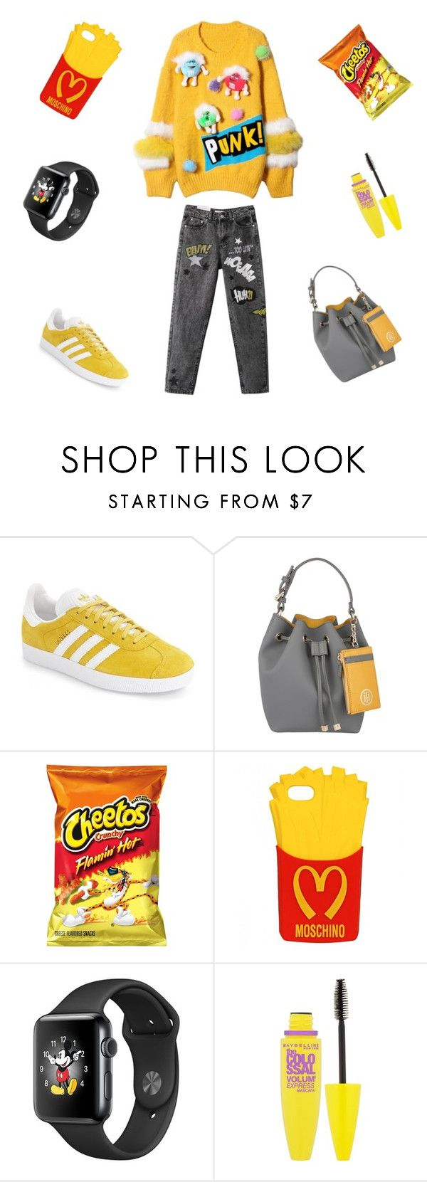 """""""Шоколадное драже"""" by violavelvet ❤ liked on Polyvore featuring adidas, Tommy Hilfiger, Moschino and Maybelline"""