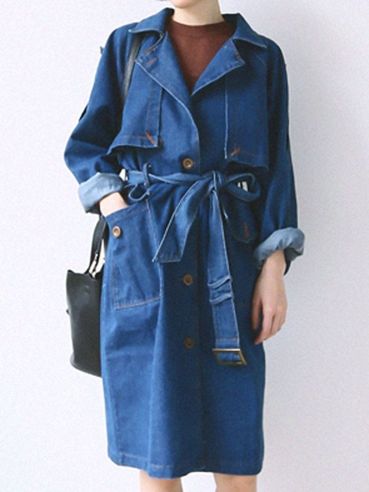 Blue Lapel Tie Waist Single Breasted Denim Trench Coat   abaday