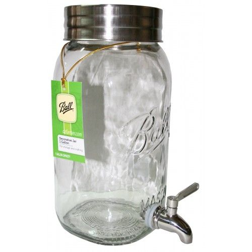 Ball Mason 4 Litre Decorative Drink Dispenser with 4 Handle Jars. Stylish, retro and absolutely chic, Ball Mason jars bring back old world charm to modern day kitchens with their funky looks and perfect practicality. This Ball Mason 4 Litre Decorative Drink Dispenser will add flair and prettiness to your parties and kitchen instantly. #masonjars #retrokitchen