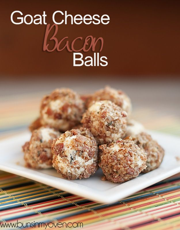Bite sized appetizers made from goat cheese and bacon! A perfect, easy recipe!