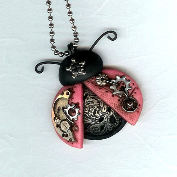 Ladybug Love Bug Necklace Polymer Clay Jewelry