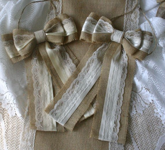 Burlap and lace wedding bows, wedding chair bows, Country wedding bows, French country, cottage chic wedding,