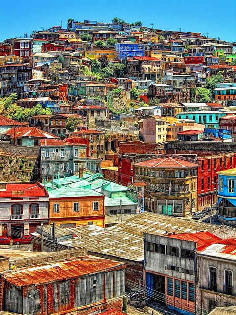 Beautiful Valparaiso...full of colour. Valparaíso itself is a UNESCO World Heritage site