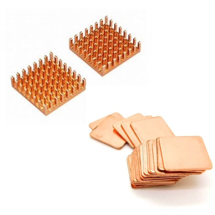 Copper Heatsink. High purity copper for co-efficient thermal conductivity up to 401w / mk. Use to greatly lower GPU temperatures in laptops, graphics, northbridge, CPU chips, etc.
