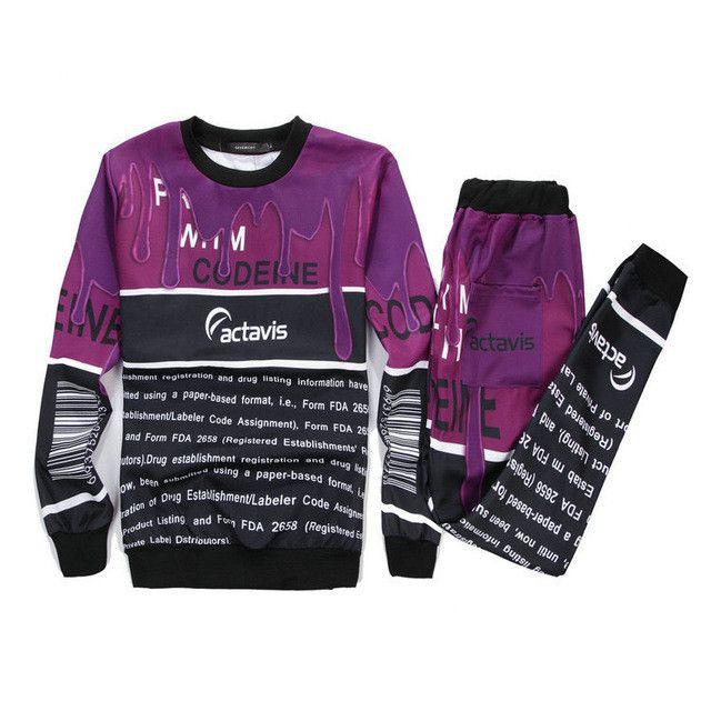 Alisister New Casual women/men suit Lean Codeine coffee milk 3d printed set joggers pants+ sweatshirt basic clothing 2 piece set