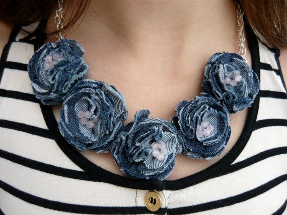 26 € Statement necklace Denim jewelry Blue denim by JewelryFromDreams