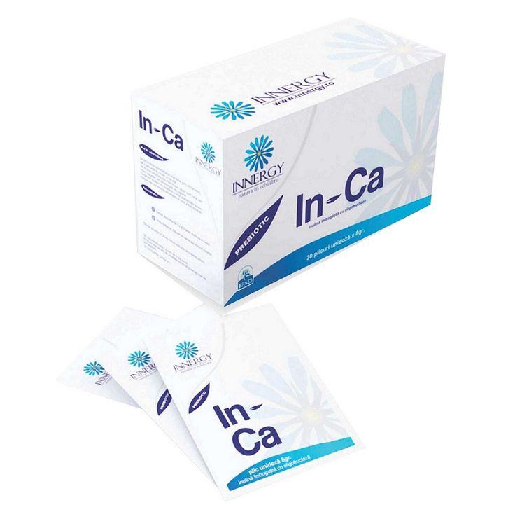 In - Ca® este un prebiotic cu o formulă speciala care acționează pe toată lungimea colonului, hrănind selectiv flora saprofită endogenă (flora sacharolitica din intestin), îmbunătățind astfel metabolismul colonic și calitatea mucoasei colonice.