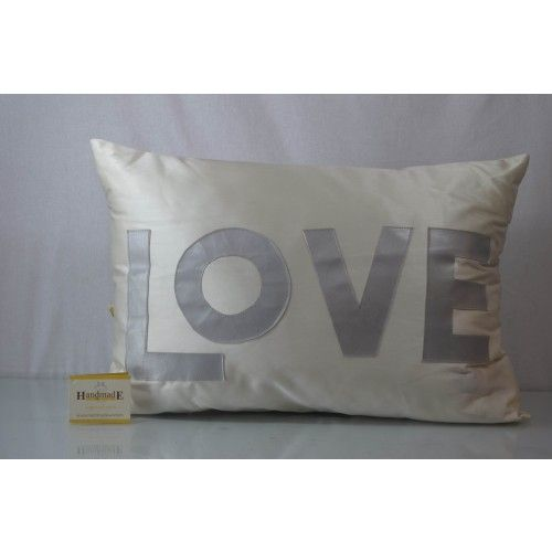 This #Black color in silk with applique love cushion cover, features back zip; comes with poly filler