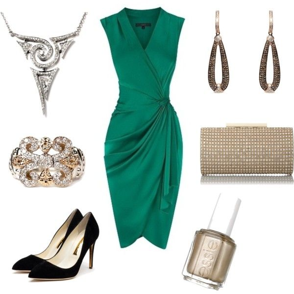 A luxe emerald green dress is complemented by gold accents for Emerald green dress wedding guest