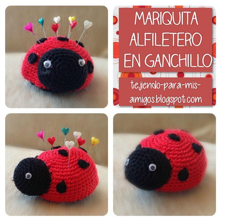 Mariquita Alfiletero Amigurumi - Patrón Gratis en Español aquí: http://tejiendo-para-mis-amigos.blogspot.co.uk/2013/04/mariquita-alfiletero-de-ganchillo-con.html