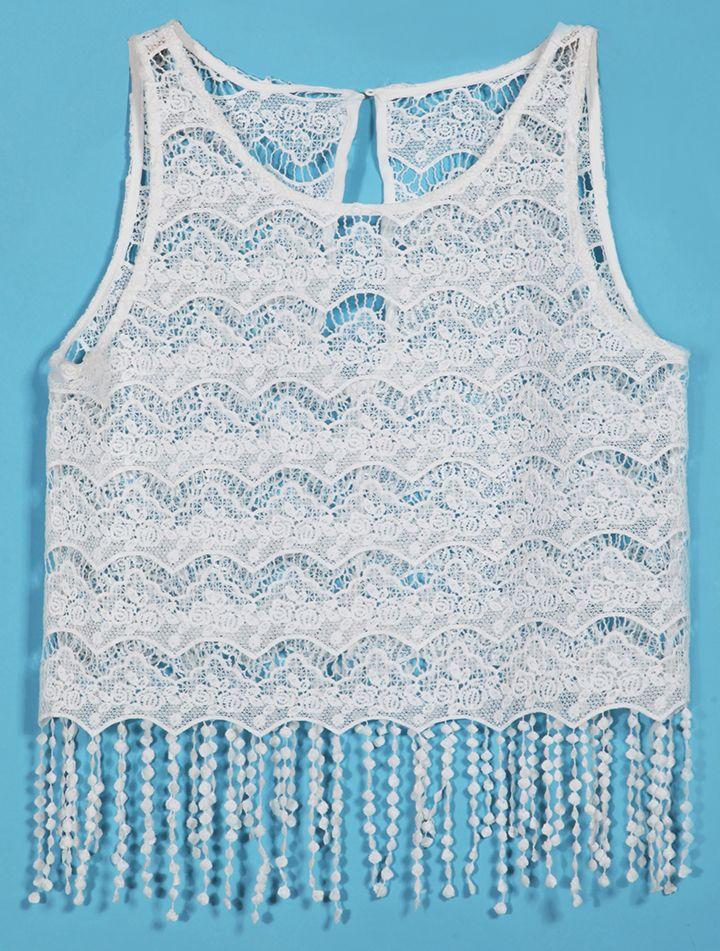 White Sleeveless Hollow Tassel Lace Vest - Sheinside.com