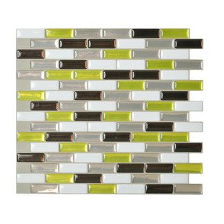 <strong>Smart Tiles</strong> Mosaik Mosaic Tile in White & Bright Green