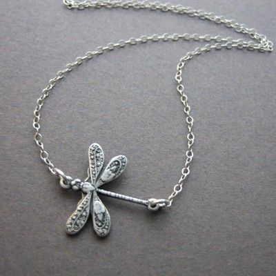 Dragonfly Necklace - cute simple necklace, friendship necklace, anniversary birthday gift ideas, flower girl necklace, gift for mom. $22.00, via Etsy.