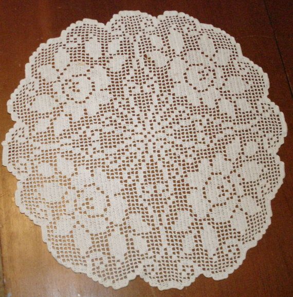 "Lovely Vintage Hand Crochet 15"" Rose Pattern Doily - Clean-Washed-Pressed - Ready For You To Display"