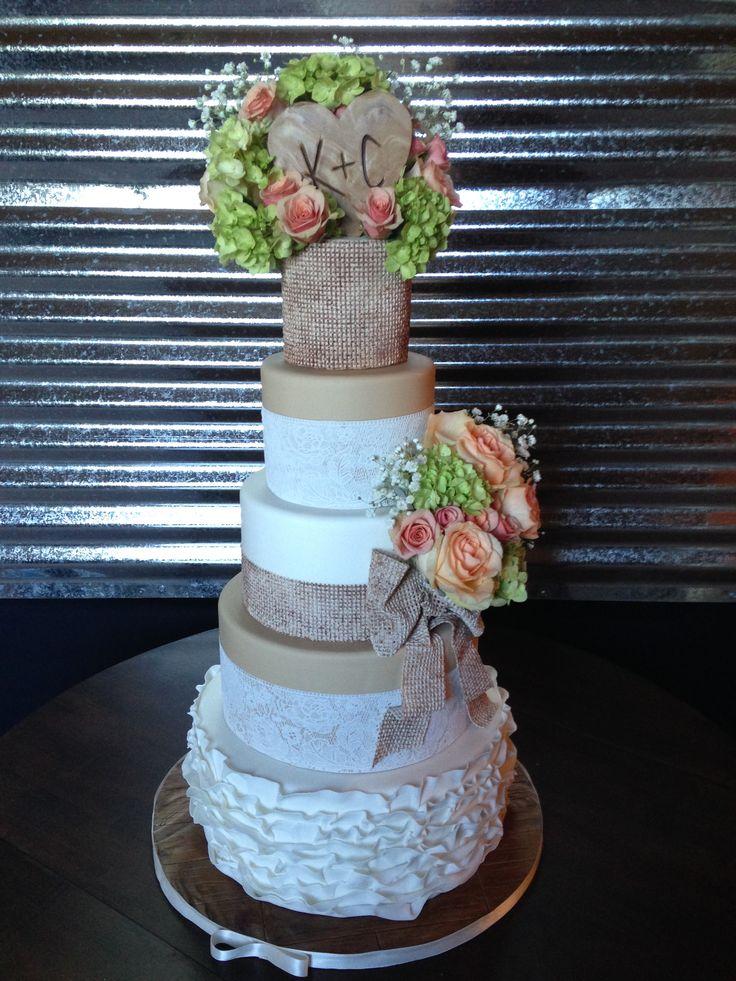 shabby chic bridal shower cakes%0A Shabby Chic Burlap and Lace Wedding Cake www gimmesomesugarlv com   laceweddingcake  burlap