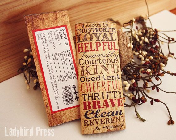 Printable Scout Law candy bar wrapper - Perfect for scout leader thank you, scout treats, etc...
