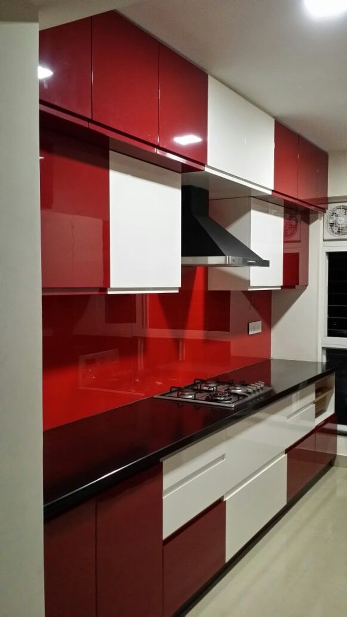Red And White Modular Parallel Kitchen Urbanclaphomes Homedecor Hometrends Interior Parallel Kitchen Design Red And White Kitchen Kitchen Furniture Design