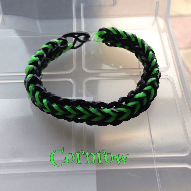 Black & green Cornrow bracelet, made on 2 forks