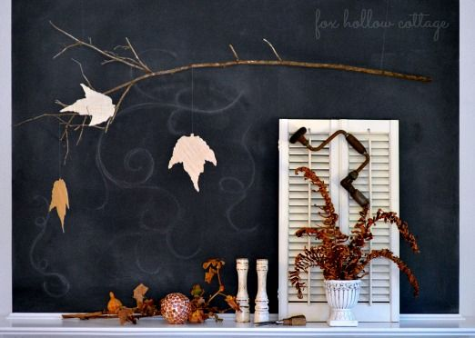 """What a dramatic background :: <span style=""""text-decoration: underline;""""><strong><a href=""""http://foxhollowcottage.com/2013/09/my-fall-fireplace-mantle.html"""">Chalkboard Fall Mantel</a></strong>"""