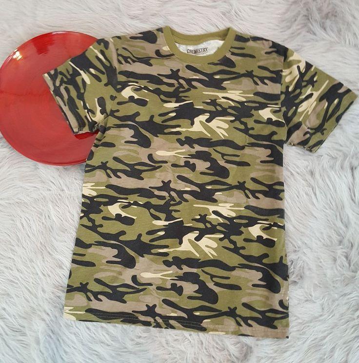 Chemistry Boys Shirt Size Small 12-14 Green Black Camouflage Tee Camo 458 #Chemistry #Everyday