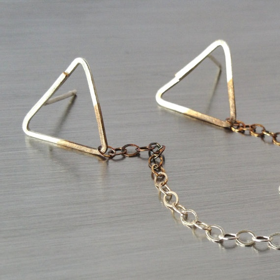 simple geometric silver triangle stud dangle earrings with ombre chain