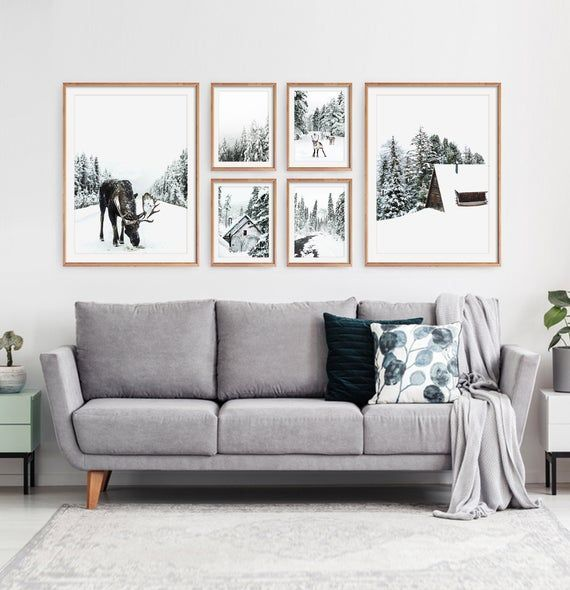Winter Gallery Wall Decor Nordic Christmas Wall Art Set Of 6 Etsy In 2020 Picture Wall Living Room Large Wall Decor Living Room Gallery Wall Living Room