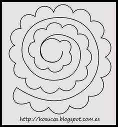 Patr??n de rosa para fieltro. Rose pattern for felt.