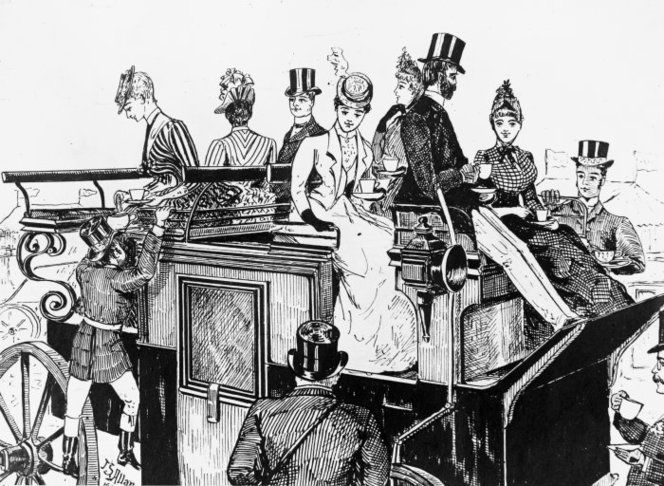 A sketch of people travelling by stage coach