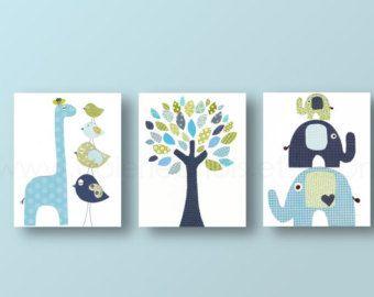 Garçons pépinière art tirages bébé crèche décor chambre d'enfant de l'art girafe d'arbre éléphant oiseau bleu vert ensemble marine de 3 tirages