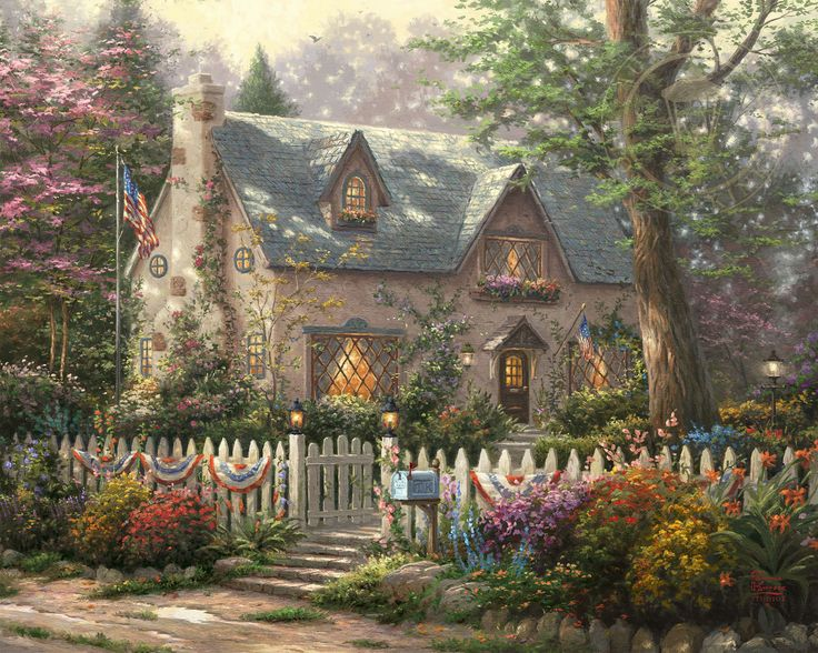 In creating Liberty Lane Cottage, Thomas Kinkade Studios' purpose was to honor strength and diversity, two of the cornerstones which make the United States the country that it is – a place where individual freedoms are cherished and protected. The strength of a nation cannot be attained or measured by economic power or military might. Strength can only be found where unity welcomes diversity. To those who commit themselves to the dreams and ideas of this country's founding fathers, the gate…
