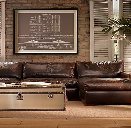I Want A Really Big Old Leather Couch In The Basement Media Room. One That.  Distressed ...