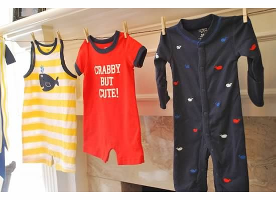 Nautical themed baby shower onsie banner- so cute!