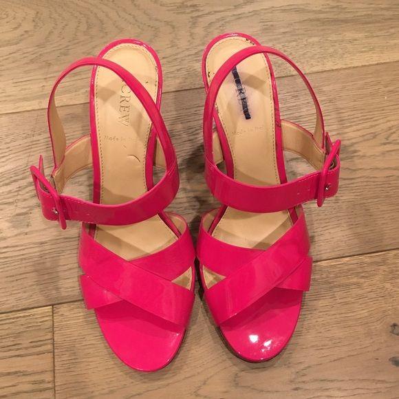 JCrew Pink Heeled Sandals Minor wear, markings on inside of shoe J. Crew Shoes Sandals
