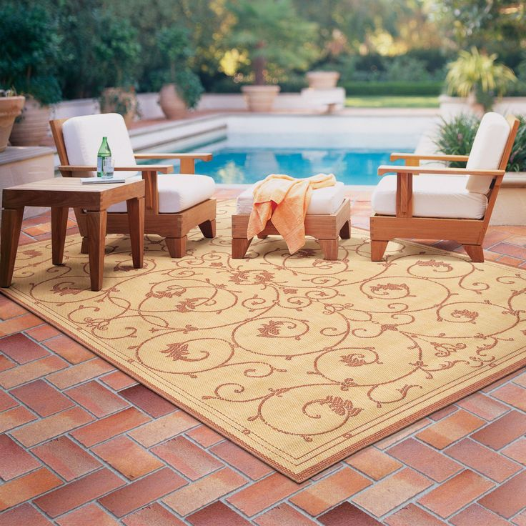 Beige Brown Beautiful Outdoor Patio Carpet Large Size