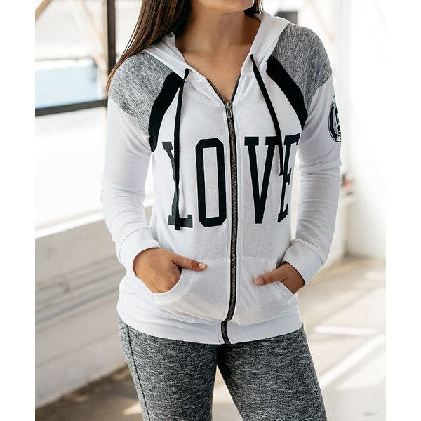 Game of Love White & Black 'Love' Zip-Up Hoodie (65 RON) ❤ liked on Polyvore featuring tops, hoodies, long hoodie, tall hoodies, hooded sweatshirt, long zip up hoodie and black and white hoodie