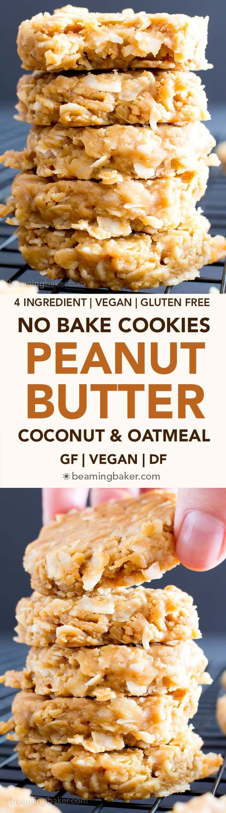 4 Ingredient No Bake Peanut Butter Coconut Oatmeal Cookies (V, GF): a one-bowl recipe for super easy to make peanut butter cookies packed with coconut and oats! #GlutenFree #Vegan #WholeGrain #RefinedSugarFree | BeamingBaker.com