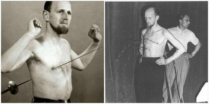 """Мирин Дажо (настоящее имя Арнольд Геррит Хенске), стал известным благодаря прокалыванию своего тела насквозь всеми возможными видами холодного оружия. Причем эта феноменальная и необъяснимая неуязвимость была проверена и доказана учеными сделавшими ему рентген во время пронзения рапирой. Арнольд Геррит Хенске родился 6 августа 1912 в Роттердаме. Увлекался рисованием и в 20 лет стал руководителем дизайнерского бюро в """"Beaux Arts"""". В молодости с Арнольдом Хенске неоднократно происходили…"""